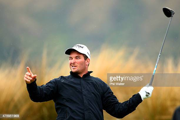 Ryan Fox of New Zealand tees off on the 14th hole during round four of the New Zealand Open at The Hills Golf Club on March 2 2014 in Queenstown New...