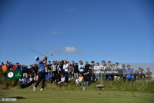 Ryan Fox of New Zealand tees off on the 14th hole during the first round of the 146th Open Championship at Royal Birkdale on July 20 2017 in...