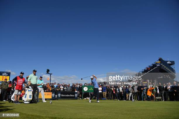 Ryan Fox of New Zealand tees off on the 15th hole during the first round of the 146th Open Championship at Royal Birkdale on July 20 2017 in...