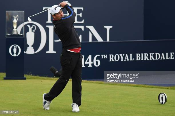 Ryan Fox of New Zealand tees off on the 1st hole during the second round of the 146th Open Championship at Royal Birkdale on July 21 2017 in...