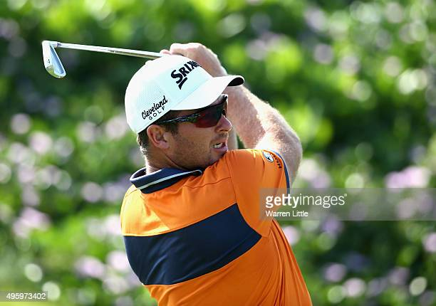 Ryan Fox of New Zealand tees off on the second hole during the third round of the NBO Golf Classic Grand Final at the Almouj Golf Club The Wave on...