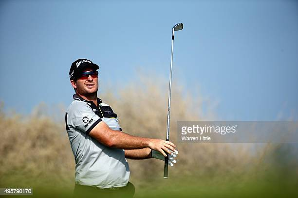 Ryan Fox of New Zealand tees off on the sixth hole during the second round of the NBO Golf Classic Grand Final at the Almouj Golf Club The Wave on...