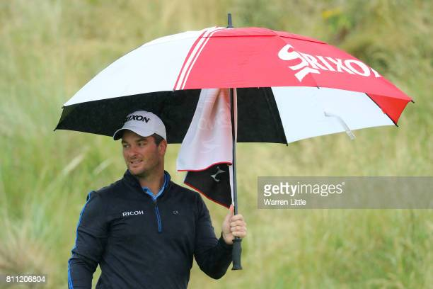 Ryan Fox of New Zealand walks down the 3rd hole during the final round of the Dubai Duty Free Irish Open at Portstewart Golf Club on July 9 2017 in...