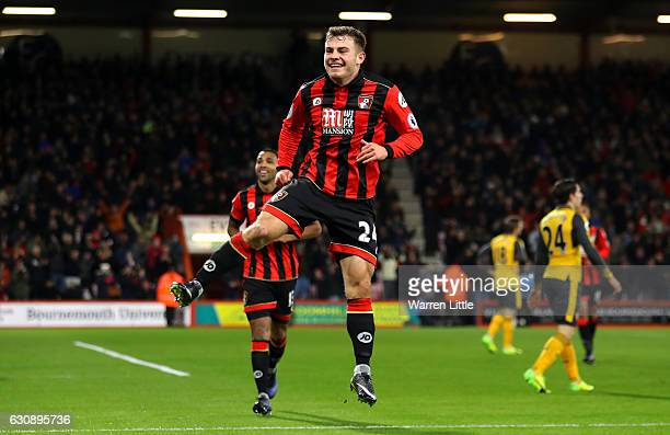 Ryan Fraser of AFC Bournemouth celebrates scoring his team's third goal during the Premier League match between AFC Bournemouth and Arsenal at...