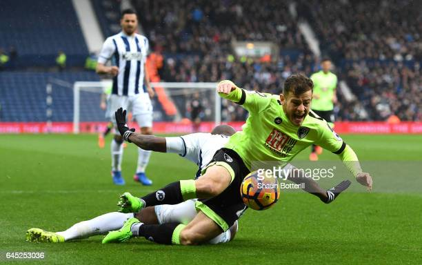 Ryan Fraser of AFC Bournemouth is fouled by Allan Nyom of West Bromwich Albion and a penalty is awarded to AFC Bournemouth during the Premier League...