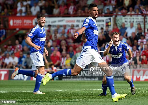 Ryan Fraser of Ipswich Town celebrates scoring his sides second goal during the Sky Bet Championship match between Brentford and Ipswich Town at...
