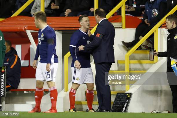 Ryan Fraser of Scotland Callum McGregor of Scotland coach Malky Mackay of Scotland during the friendly match between Scotland and The Netherlands on...