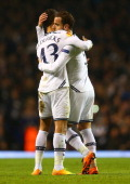 Ryan Fredericks of Tottenham Hotspur congratulates Roberto Soldado of Tottenham Hotspur after he scored his hat trick goal from the penalty spot...