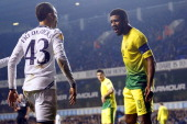 Ryan Fredericks of Tottenham in action with Jucilei of FC Anji during the UEFA Erupe league Group K match at White Hart Lane in London England on...