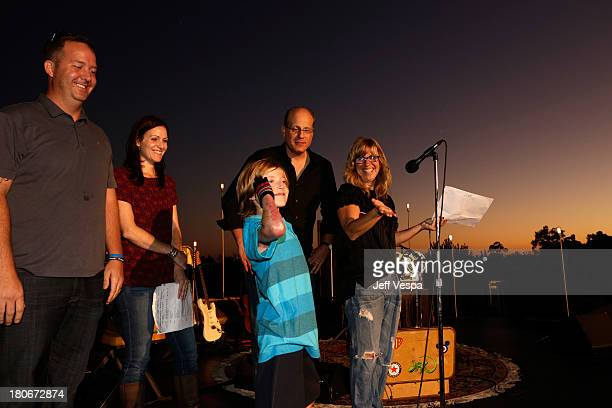 Ryan Fullmer Heather Fullmer Brandon Joseph Paul Joseph and Andrea PettJoseph onstage during Eddie Vedder and Zach Galifianakis Rock Malibu...