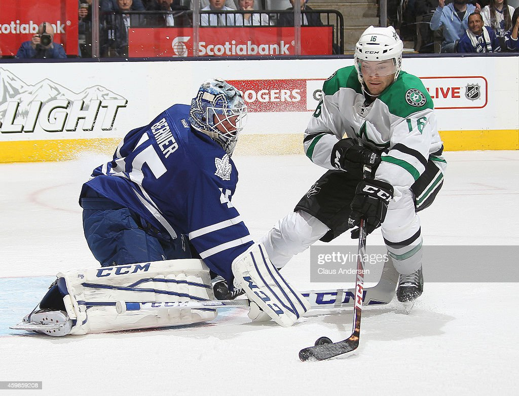 Ryan Garbutt #16 of the Dallas Stars is stopped late in the game by goalie Jonathan Bernier #45 of the Toronto Maple Leafs during an NHL game at the Air Canada Centre on December 2, 2014 in Toronto, Ontario, Canada. The Leafs defeated the Stars 5-3.