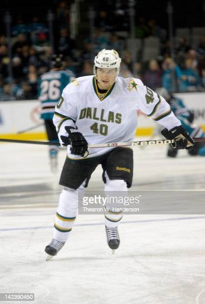 Ryan Garbutt of the Dallas Stars skates in warm ups before the game against the San Jose Sharks at HP Pavilion at San Jose on March 31 2012 in San...
