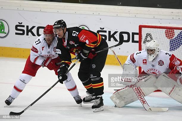 Ryan Gardner Nr 51 and Rostislav Klesla Nr 27 bevor goal Peter Hamerlik Nr 2 during the Champions Hockey League group stage game between SC Bern and...