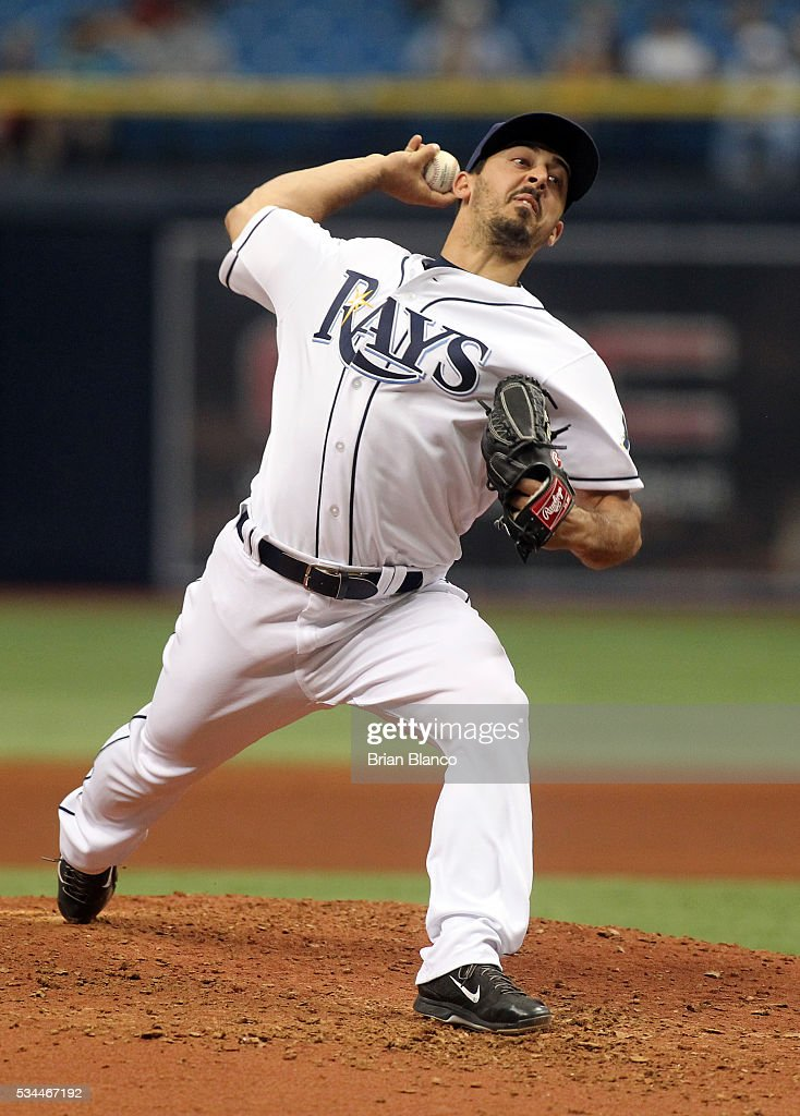 Ryan Garton #52 of the Tampa Bay Rays makes his Major League debut as he pitches during the seventh inning of a game against the Miami Marlins on May 26, 2016 at Tropicana Field in St. Petersburg, Florida.