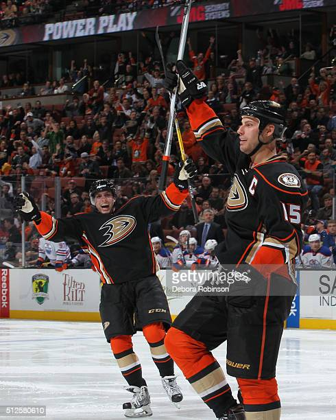 Ryan Getzlaf and David Perron of the Anaheim Ducks celebrate Getzlaf's third period goal against the Edmonton Oilers on February 26 2016 at Honda...