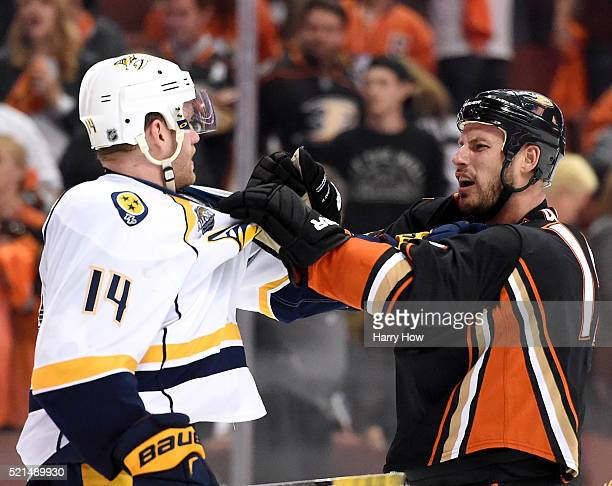 Ryan Getzlaf of the Anaheim Ducks and Mattias Ekholm of the Nashville Predators shove at the end of the game in a 32 Predators win in Game One of the...