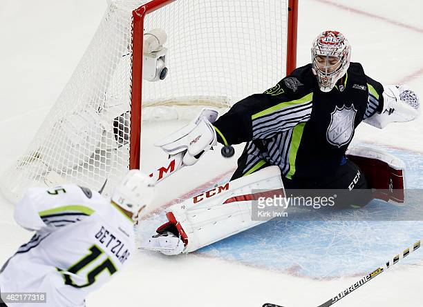 Ryan Getzlaf of the Anaheim Ducks and Team Toews shoots against Carey Price of the Montreal Canadiens and Team Foligno in the first period during the...