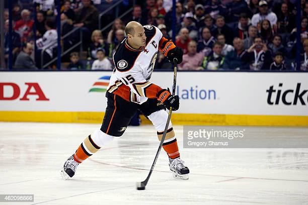 Ryan Getzlaf of the Anaheim Ducks and Team Toews shoots the puck during the DraftKings NHL Accuracy Shooting event of the 2015 Honda NHL AllStar...