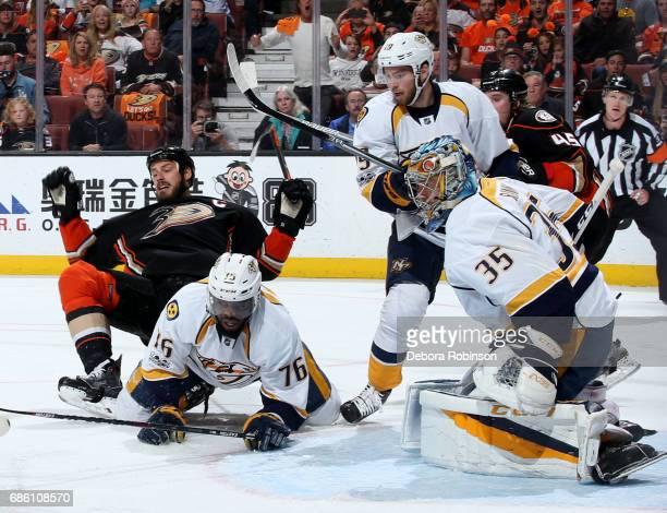 Ryan Getzlaf of the Anaheim Ducks battles for position against PK Subban Calle Jarnkrok and Pekka Rinne of the Nashville Predators in Game Five of...