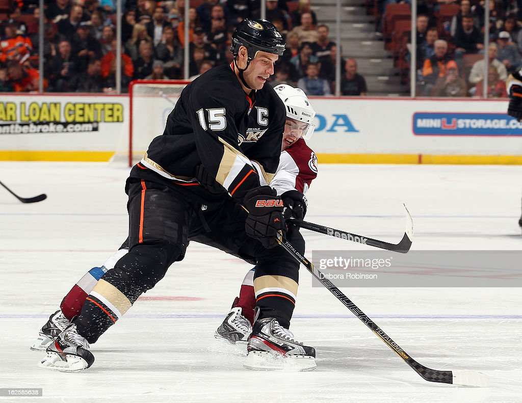Ryan Getzlaf #15 of the Anaheim Ducks battles for the puck against Matt Duchene #9 of the Colorado Avalanche on February 24, 2013 at Honda Center in Anaheim, California.