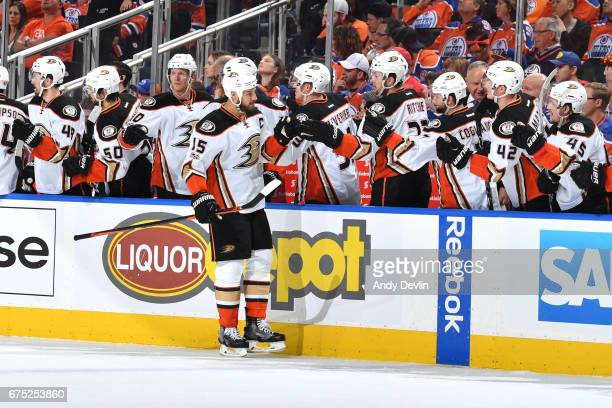 Ryan Getzlaf of the Anaheim Ducks celebrates after a goal in Game Three of the Western Conference Second Round during the 2017 NHL Stanley Cup...