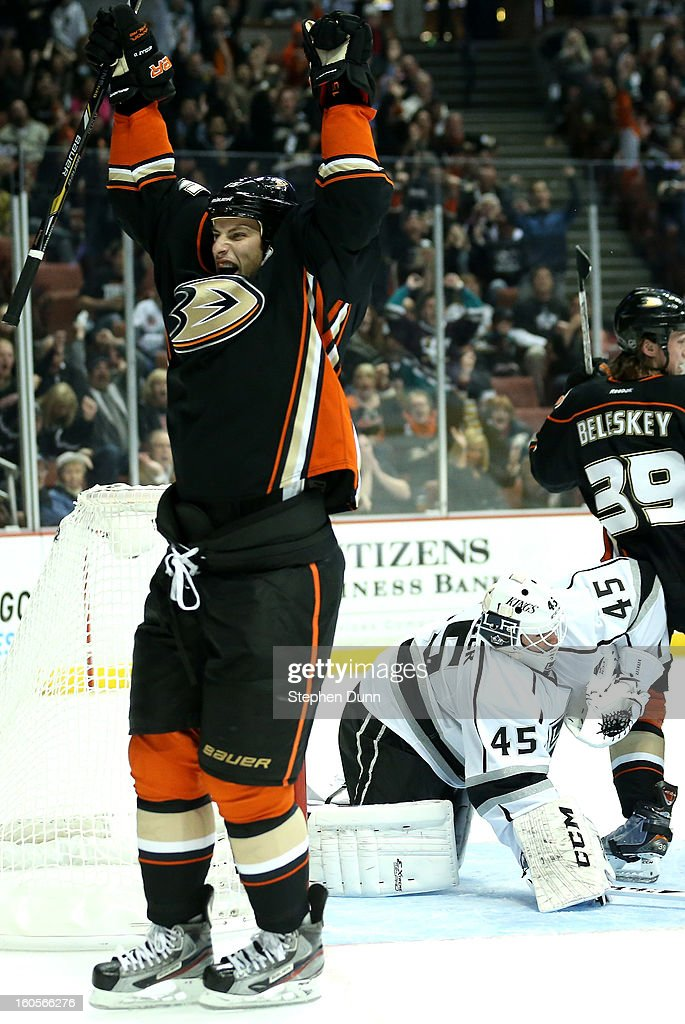 Ryan Getzlaf #15 of the Anaheim Ducks celebrates after scoring a first period goal past goalie Jonathan Bernier #45 of the Los Angeles Kings at Honda Center on February 2, 2013 in Anaheim, California.