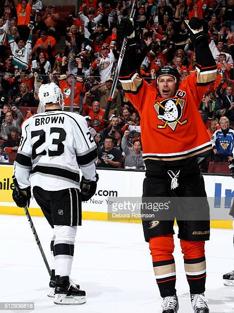 Ryan Getzlaf of the Anaheim Ducks celebrates during the game against the Los Angeles Kings on February 28 2016 at Honda Center in Anaheim California