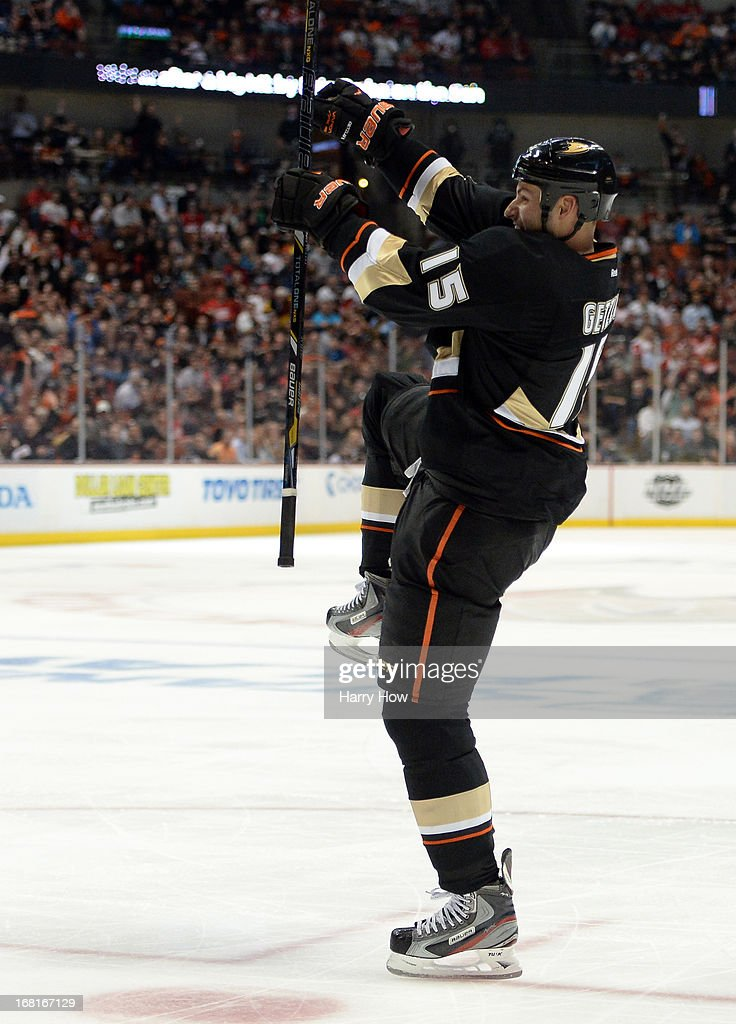 <a gi-track='captionPersonalityLinkClicked' href=/galleries/search?phrase=Ryan+Getzlaf&family=editorial&specificpeople=602655 ng-click='$event.stopPropagation()'>Ryan Getzlaf</a> #15 of the Anaheim Ducks celebrates his goal during a 5-4 overtime loss to the Detroit Red Wings in Game Two of the Western Conference Quarterfinals during the 2013 Stanley Cup Playoffs at Honda Center on May 2, 2013 in Anaheim, California.