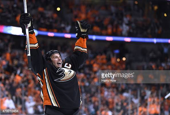 Ryan Getzlaf of the Anaheim Ducks celebrates his goal to take a 42 lead over the Winnipeg Jets during the third period in Game One of the Western...