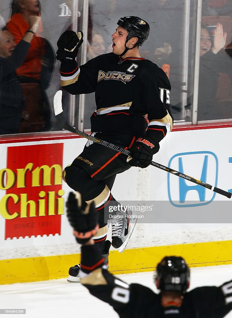 <a gi-track='captionPersonalityLinkClicked' href=/galleries/search?phrase=Ryan+Getzlaf&family=editorial&specificpeople=602655 ng-click='$event.stopPropagation()'>Ryan Getzlaf</a> #15 of the Anaheim Ducks celebrates his goal with teammate <a gi-track='captionPersonalityLinkClicked' href=/galleries/search?phrase=Corey+Perry&family=editorial&specificpeople=213864 ng-click='$event.stopPropagation()'>Corey Perry</a> #10 against the Detroit Red Wingson March 24, 2013 at Honda Center in Anaheim, California.