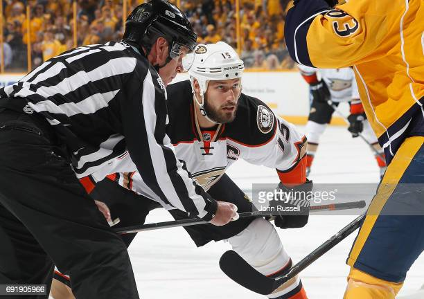 Ryan Getzlaf of the Anaheim Ducks faces off again the Nashville Predators in Game Six of the Western Conference Final during the 2017 NHL Stanley Cup...