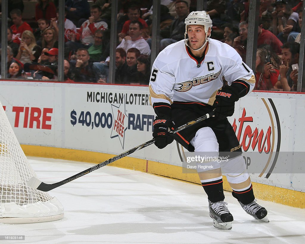 Ryan Getzlaf #15 of the Anaheim Ducks follows the play during a NHL game against the Detroit Red Wings on February 15, 2013 at Joe Louis Arena in Detroit, Michigan. Anaheim defeated Detroit 5-2
