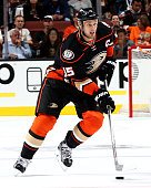 Ryan Getzlaf of the Anaheim Ducks handles the puck during the game against the Vancouver Canucks on October 12 2015 at Honda Center in Anaheim...