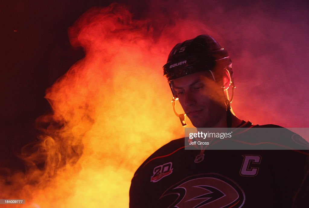<a gi-track='captionPersonalityLinkClicked' href=/galleries/search?phrase=Ryan+Getzlaf&family=editorial&specificpeople=602655 ng-click='$event.stopPropagation()'>Ryan Getzlaf</a> #15 of the Anaheim Ducks is introduced prior to the start of the game against the New York Rangers at Honda Center on October 10, 2013 in Anaheim, California. The Ducks defeated the Rangers 6-0.