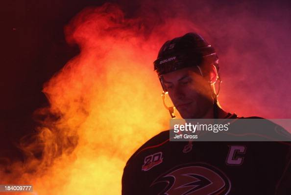 Ryan Getzlaf of the Anaheim Ducks is introduced prior to the start of the game against the New York Rangers at Honda Center on October 10 2013 in...