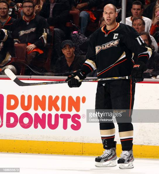 Ryan Getzlaf of the Anaheim Ducks looks on during the game against the Detroit Red Wings in Game Five of the Western Conference Quarterfinals during...