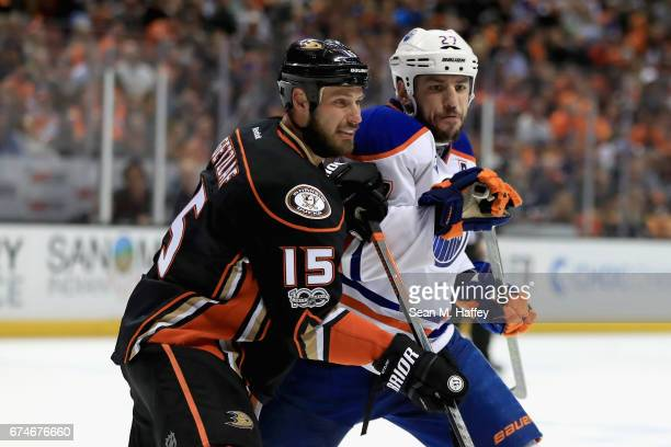 Ryan Getzlaf of the Anaheim Ducks pushes Milan Lucic of the Edmonton Oilers during the second period of Game Two of the Western Conference Second...