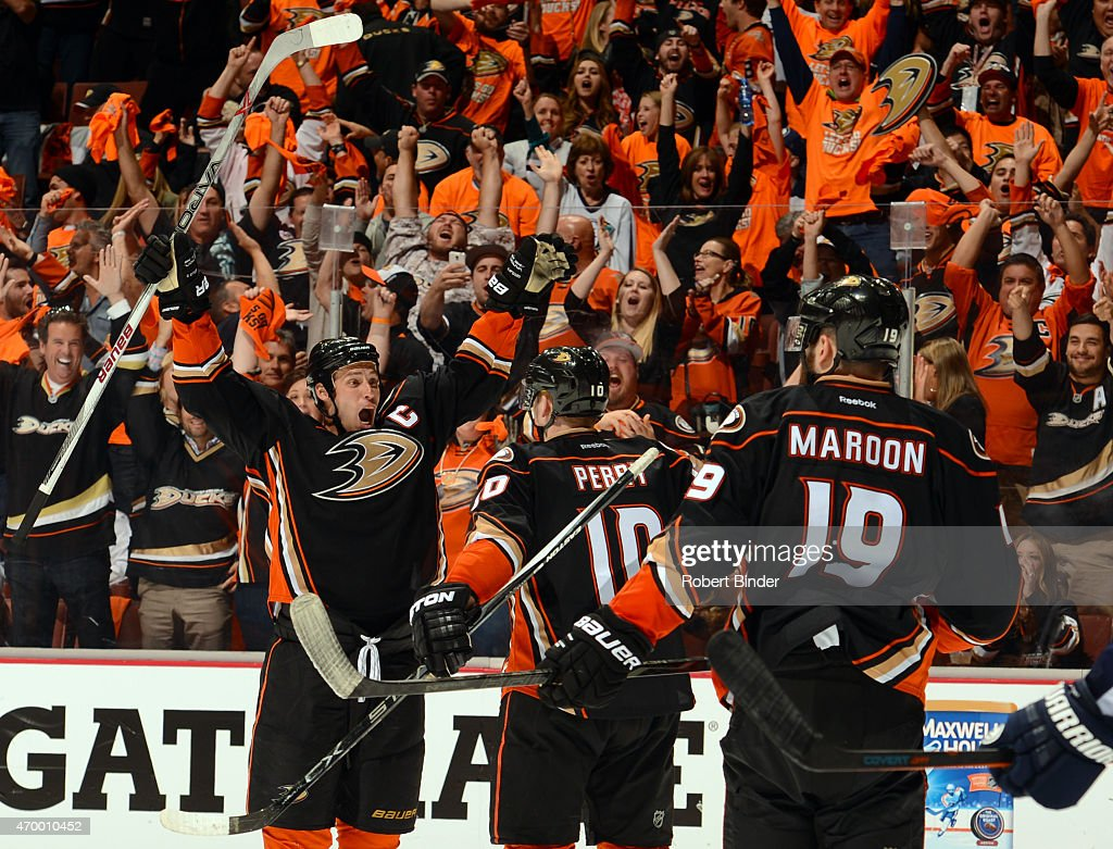 Ryan Getzlaf #15 of the Anaheim Ducks reacts after scoring with teammates Corey Perry #10 and Patrick Maroon #19 against the Winnipeg Jets during the third period in Game One of the Western Conference Quarterfinals during the 2015 NHL Stanley Cup Playoffs at Honda Center on April 16, 2015 in Anaheim, California. The Ducks defeated the Jets 4-2.