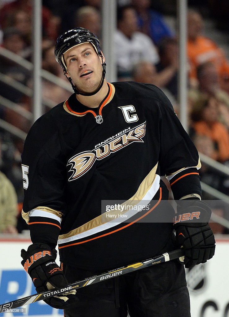 Ryan Getzlaf #15 of the Anaheim Ducks reacts to his penalty during the first period against the Detroit Red Wings in Game One of the Western Conference Quarterfinals during the 2013 Stanley Cup Playoffs at Honda Center on April 30, 2013 in Anaheim, California.