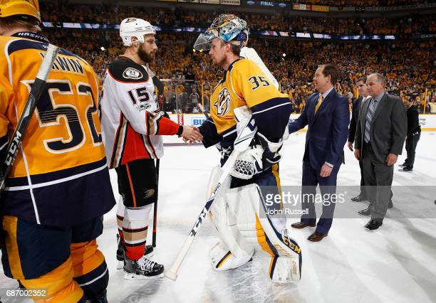 Ryan Getzlaf of the Anaheim Ducks shakes hands with Pekka Rinne of the Nashville Predators after a 63 series win in Game Six of the Western...
