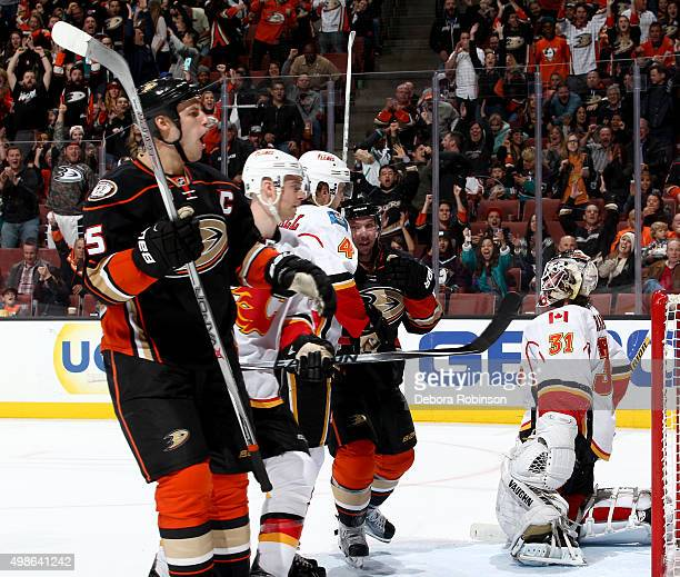 Ryan Getzlaf of the Anaheim Ducks shows emotion during the game against the Calgary Flames on November 24 2015 at Honda Center in Anaheim California