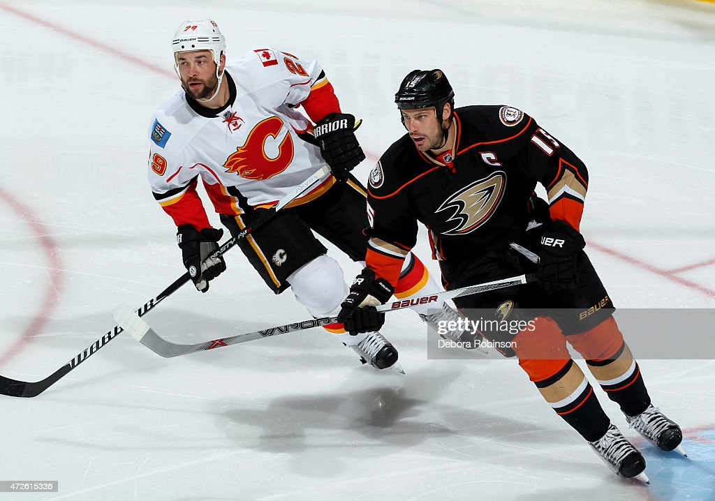 Ryan Getzlaf #15 of the Anaheim Ducks skates against Deryk Engelland #29 of the Calgary Flames in Game Two of the Western Conference Semifinals during the 2015 NHL Stanley Cup Playoffs at Honda Center on May 3, 2015 in Anaheim, California.