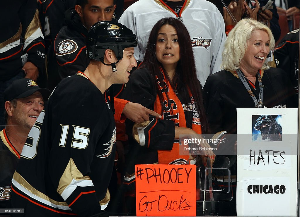 Ryan Getzlaf #15 of the Anaheim Ducks skates by fans before game against the Chicago Blackhawks on March 20, 2013 at Honda Center in Anaheim, California. Etem scored his first career goal in the game.