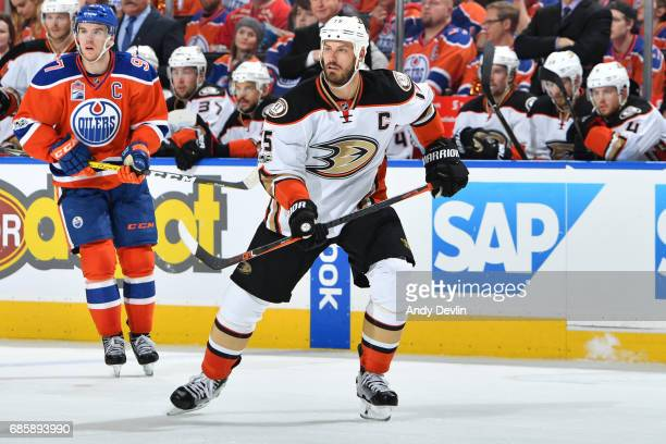 Ryan Getzlaf of the Anaheim Ducks skates in Game Three of the Western Conference Second Round during the 2017 NHL Stanley Cup Playoffs against the...