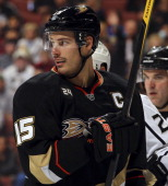 Ryan Getzlaf of the Anaheim Ducks skates on the ice during the game against the Los Angeles Kings on November 17 2011 at Honda Center in Anaheim...