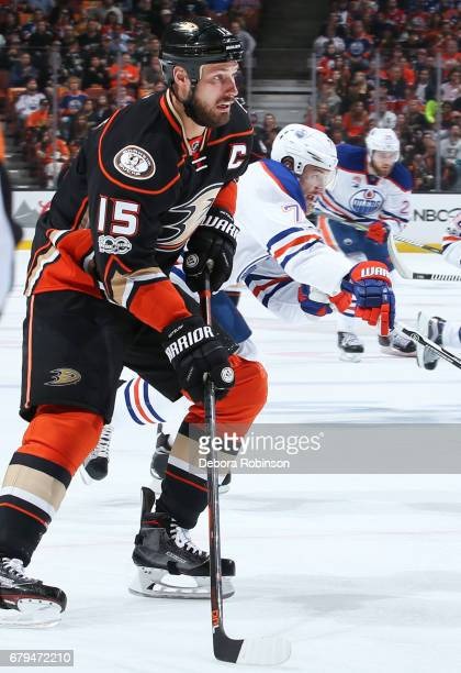 Ryan Getzlaf of the Anaheim Ducks skates with the puck against Oscar Klefbom of the Edmonton Oilers in Game Five of the Western Conference Second...
