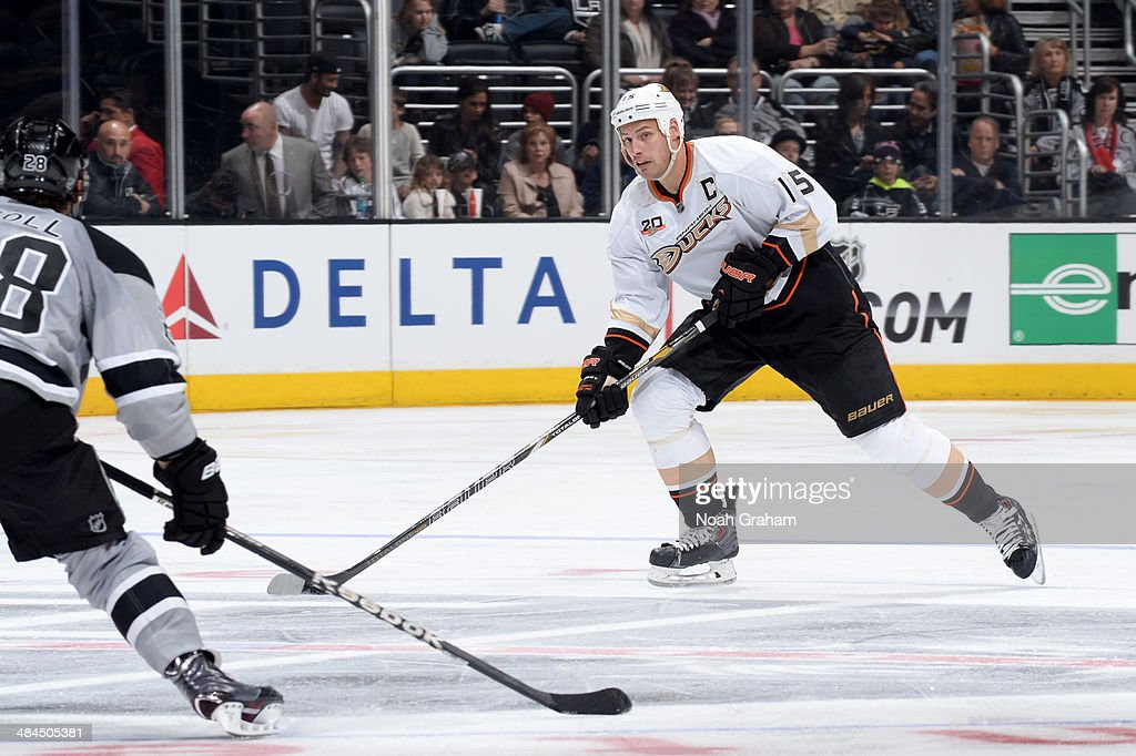 <a gi-track='captionPersonalityLinkClicked' href=/galleries/search?phrase=Ryan+Getzlaf&family=editorial&specificpeople=602655 ng-click='$event.stopPropagation()'>Ryan Getzlaf</a> #15 of the Anaheim Ducks skates with the puck against the Los Angeles Kings at Staples Center on April 12, 2014 in Los Angeles, California.