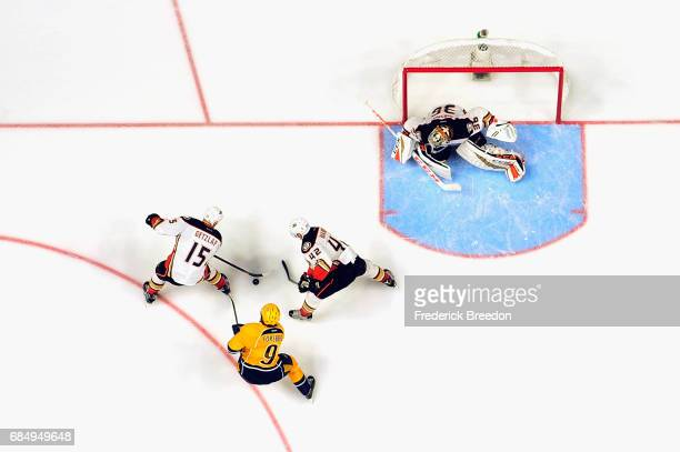 Ryan Getzlaf of the Anaheim Ducks skates with the puck during the overtime period against the Nashville Predators in Game Four of the Western...