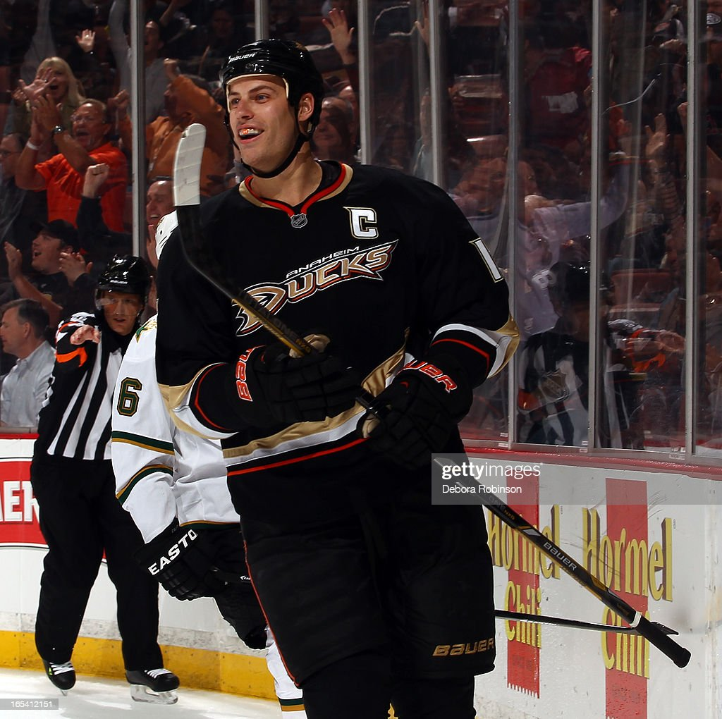 Ryan Getzlaf #15 of the Anaheim Ducks smiles after scoring a goal during the game against the Dallas Stars on April 3, 2013 at Honda Center in Anaheim, California.