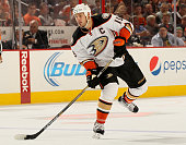 Ryan Getzlaf of the Anaheim Ducks takes a shot in the first period against the Philadelphia Flyers on October 14 2014 at the Wells Fargo Center in...